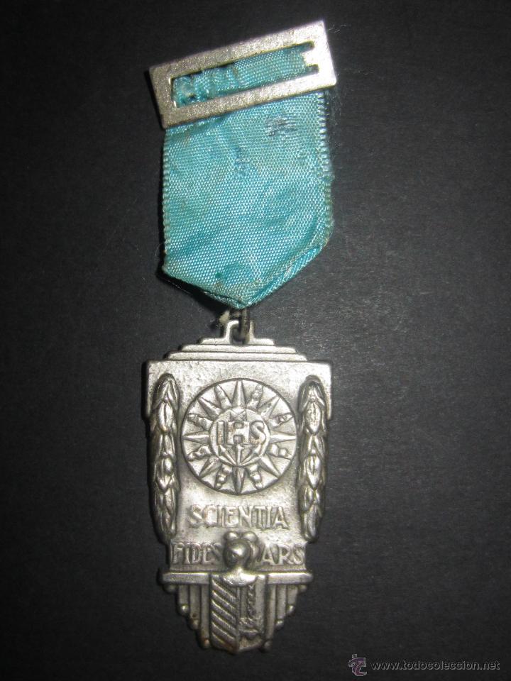 MEDALLA ESCOLAR.SCIENTA FIDES ARS.IHS (Numismática - Medallería - Condecoraciones)