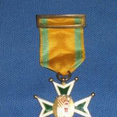 Medallas condecorativas: ANTIGUA MEDALLA ESMALTADA - CRUZ VERDE - PASADOR AMARILLO Y VERDE - COLEGIO PORTACELI - SEVILLA. Lote 46259822