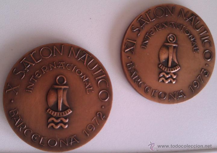 LOTE DE MEDALLAS SALON NAUTICO INTERNACIONAL BARCELONA 1972 Y 1973 COBRE IDEAL COMENZAR COLECCION (Numismática - Medallería - Condecoraciones)