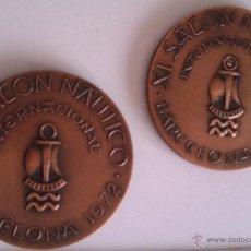 Medallas condecorativas: LOTE DE MEDALLAS SALON NAUTICO INTERNACIONAL BARCELONA 1972 Y 1973 COBRE IDEAL COMENZAR COLECCION. Lote 46868717