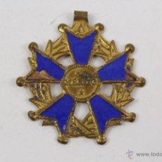 Medallas condecorativas: M-182. ANTIGUA MEDALLA AL MERITO EN CHAPA CON ESMALTE AZUL. Lote 48571736