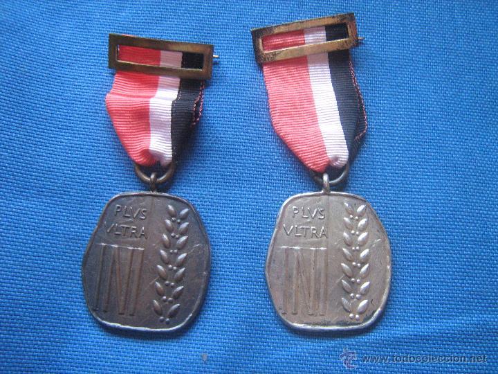 DOS MEDALLAS DEL PLUS ULTRA - UNA CATEGORIA DE PLATA Y OTRA BRONCE - MEDALLA (Numismática - Medallería - Condecoraciones)