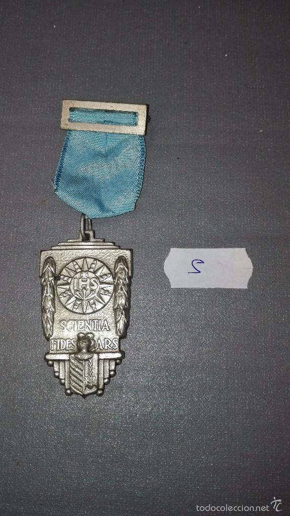 918- MEDALLA ESCOLAR DE PREMIO CENTRO CULTURAL CATOLICO -LA CORUÑA IHS. SCIENTIA FIDES ARS 1938 Nº 5 (Numismática - Medallería - Condecoraciones)
