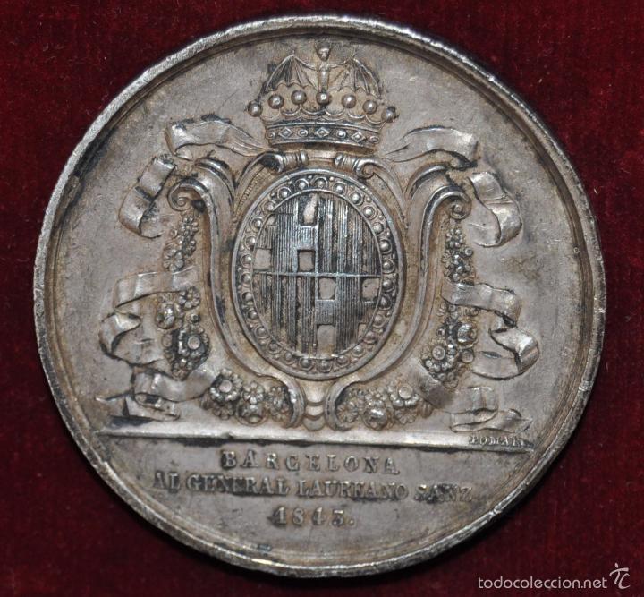 RARA MEDALLA EN PLATA. BARCELONA / AL GENERAL LAUREANO SANZ / 1843 (Numismática - Medallería - Condecoraciones)