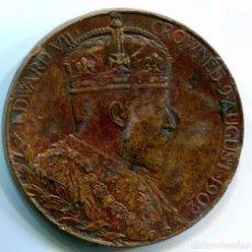 Medallas condecorativas: INGLATERRA. MEDALLA EN BRONCE 81,5 GRAMOS. 9 AGOSTO 1902. CORONACIÓN DEL REY EDUARDO VII. Lote 62381620