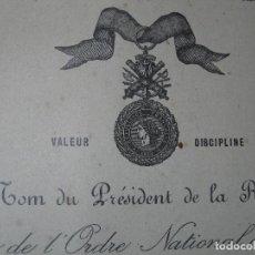 Medallas condecorativas: CONDECORACION DOCUMENTO DIPLOMA MEDALLA MILITAR FRANCIA LEGION DE HONOR 1929. Lote 47115209