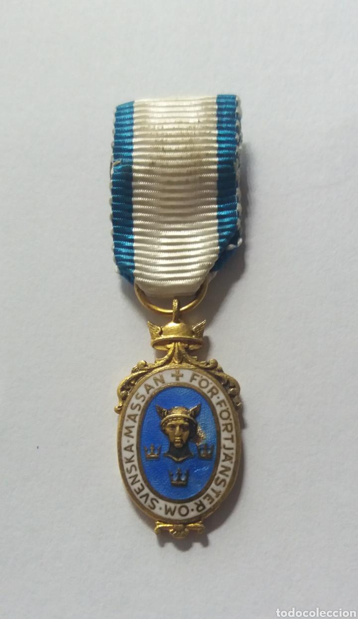 MINIATURA PLATA MEDALLA SUECIA MASSAN FOR FORTJANSTER OM (Numismática - Medallería - Condecoraciones)