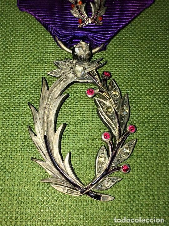 Medallas condecorativas: CONDECORACIÓN ORDRE DES PALMES ACADEMIQUES. PLATA CON DIAMANTES. FRANCIA. SIGLO XIX-XX - Foto 4 - 119106331