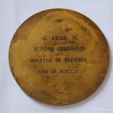 Medallas condecorativas: PLACA CONMEMORATIVA AL ESCMO SR D. PEDRO SALAVERRÍA Y CHARITU 1860. Lote 142990874