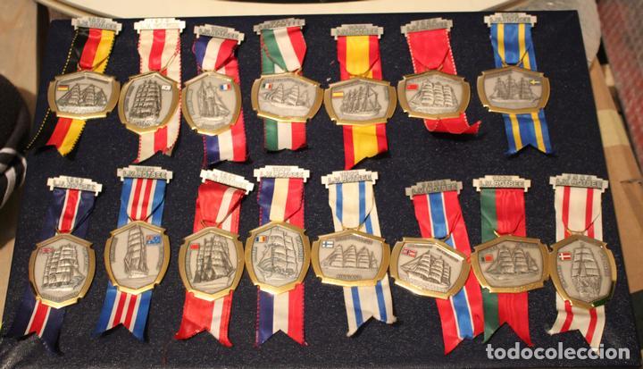 Medallas condecorativas: Medallas barcos escuela paises colleción completa - Foto 2 - 147639686