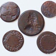 Medallas condecorativas: 5 PRUEBAS EN COBRE DE ANVERSOS Y REVERSOS DE MEDALLAS. S XVII - XVIII.. Lote 155708090