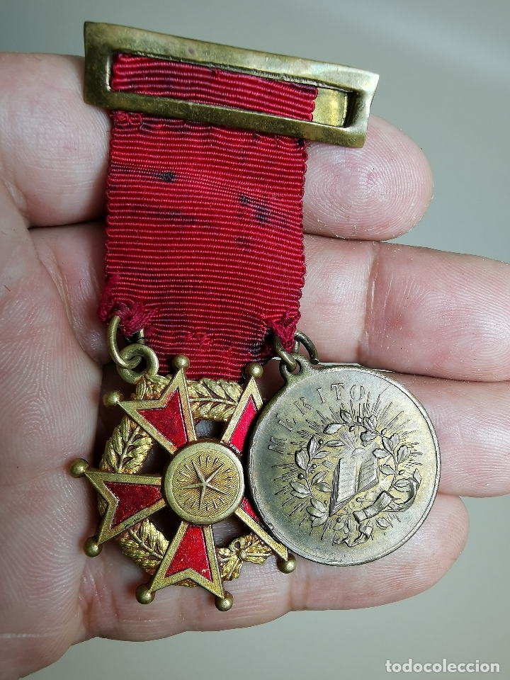 PAREJA MEDALLAS MERITO ESCOLAR, COLEGIO- ESPAÑA (Numismática - Medallería - Condecoraciones)