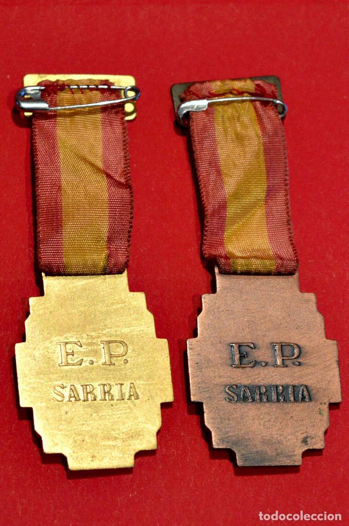 Medallas condecorativas: LOTE 2 ANTIGUAS MEDALLAS ESCOLARES MEDALLA ESCOLA PIA DE SARRIA BARCELONA CATEGORIA ORO Y BRONCE - Foto 3 - 51347314