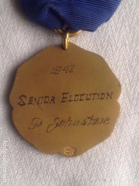 Medallas condecorativas: 1948 MEDALLA ANTIGUA SENIOR ELOCUTION, CON INICIALES - Foto 2 - 193965273