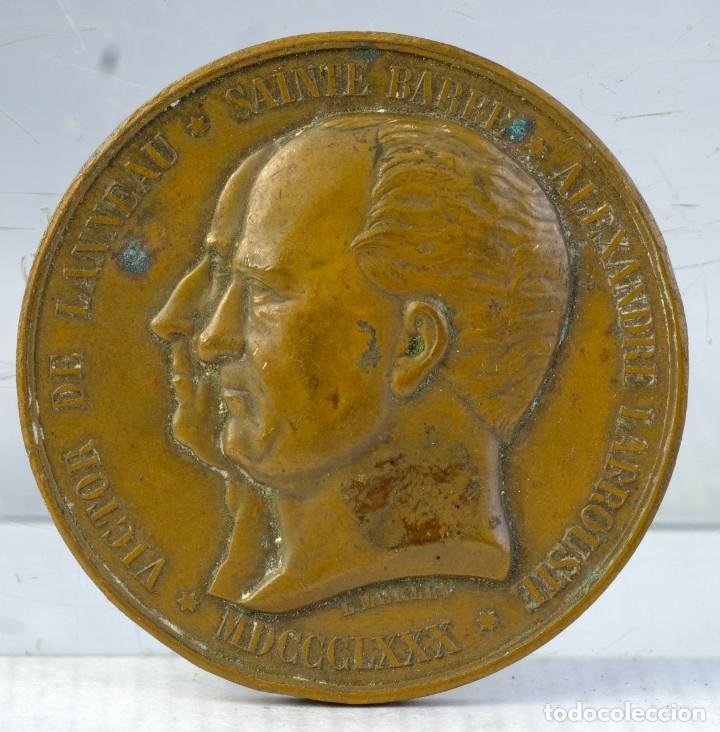 MEDALLA EN COBRE MEDALLA VICTOR DE LANNEAU-SAINTE BARBE-ALEXANDRE LABROUSSE 1880 - 50 MM (Numismática - Medallería - Condecoraciones)