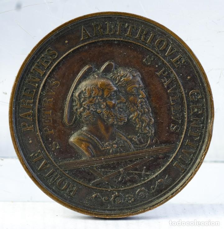 MEDALLA EN COBRE PIO IX PONTIFICE MAXIMO SAECULRIA SOLEMNIA 1867 - 48 MM (Numismática - Medallería - Condecoraciones)