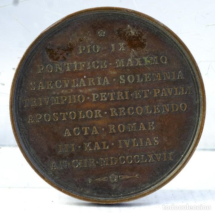 Medallas condecorativas: Medalla en cobre Pio IX pontifice maximo Saeculria solemnia 1867 - 48 mm - Foto 2 - 194614350