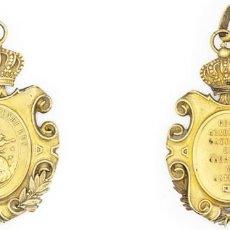 Medallas condecorativas: REAL ACADEMIA GADITANA DE CIENCIAS Y LETRAS 1875 CONDECORACIÓN 32 GR. MUY RARA EBC FIRMA J. GALLARDO. Lote 210344341