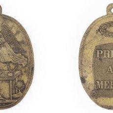 Medallas condecorativas: S. XIX-PPIOS XX. MEDALLA CON INSCRIPCIÓN PREMIO AL MÉRITO EN UN PERGAMINO. OVALADA. Lote 210393296