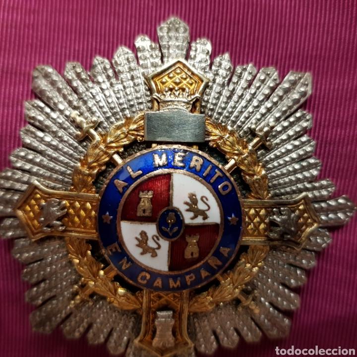 Medallas condecorativas: Cruz de guerra, placa al mérito en campaña en plata con contrastes - Foto 3 - 211590162