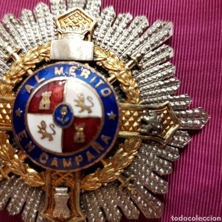 Medallas condecorativas: Cruz de guerra, placa al mérito en campaña en plata con contrastes - Foto 5 - 211590162