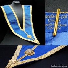 Medallas condecorativas: ANTIGUO GRAN COLLAR CEREMONIAL MASONICO / MAESTRO MASÓN AZUL / ORO SEDA: GEORGE KENNING & SON LONDON. Lote 223617615