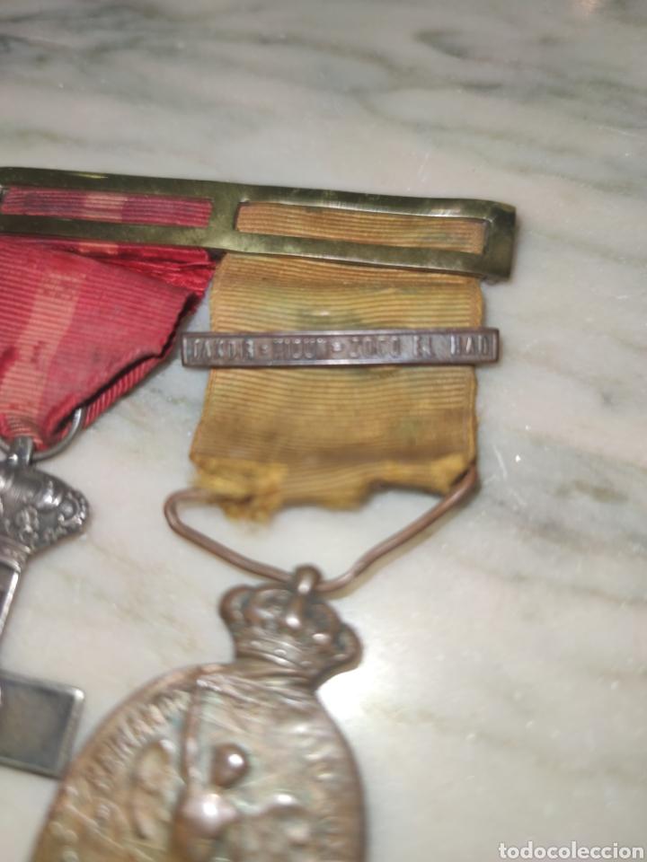 Medallas condecorativas: Dos medallas con pasador campaña del Rif y mérito Militar - Foto 4 - 227479880