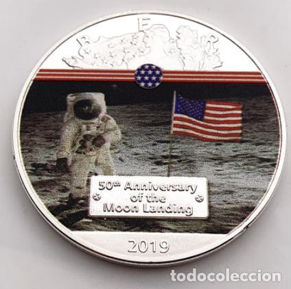 MONEDA CONMEMORATIVA NASA MISION LUNAR - 50 AÑOS (Numismática - Medallería - Condecoraciones)