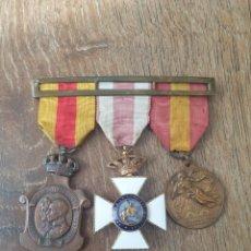 Medallas condecorativas: CONJUNTO 3 MEDALLAS.HOMENAJE AYUNTAMIENTOS1925,PREMIO CONSTANCIA MILITAR,ALZAMIENTO Y VICTORIA1936.. Lote 241232720