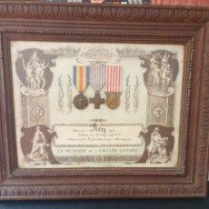 Medallas condecorativas: CUADRO CON MEDALLAS COMBATIENTE 1 GUERRA MUNDIAL.. Lote 269645103