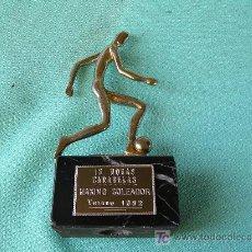Coleccionismo deportivo: **TROFEO, ----AL MAXIMO GOLEADOR (12 HORAS CARABELAS, VERANO 1992)---** ¡¡¡ OCASION !!!. Lote 27171005