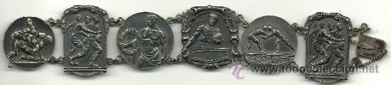 (F-93)BRAZALETE 6 MEDALLAS DE PLATA DE ROSSINI F.C.BARCELONA,RUGBY,BOXEO,LUCHA GRECO ROMANA,ETC. (Coleccionismo Deportivo - Medallas, Monedas y Trofeos - Otros deportes)
