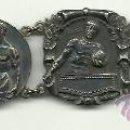 Coleccionismo deportivo: (F-93)BRAZALETE 6 MEDALLAS DE PLATA DE ROSSINI F.C.BARCELONA,RUGBY,BOXEO,LUCHA GRECO ROMANA,ETC.. Lote 30905005