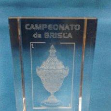 Coleccionismo deportivo: TROFEO DE CRISTAL PRIMER PUESTO CAMPEONATO DE BRISCA LLANERA ASTURIAS 10 X 6 CM. Lote 31185381