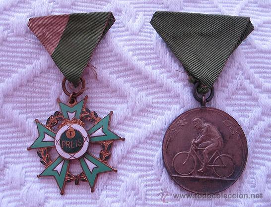 DOS MEDALLAS DE CICLISMO 1914 (Coleccionismo Deportivo - Medallas, Monedas y Trofeos - Otros deportes)