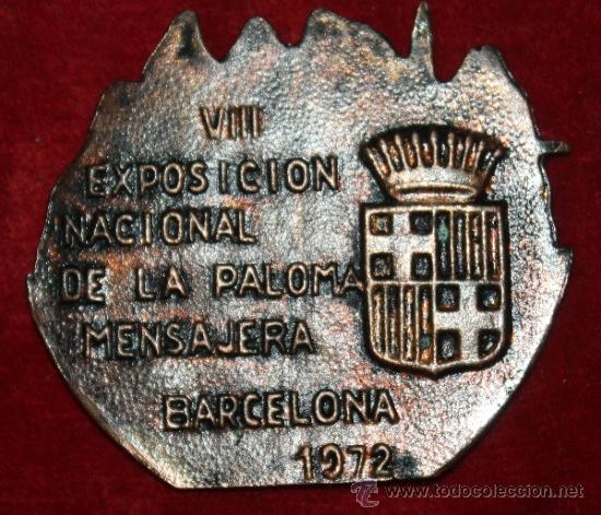 Coleccionismo deportivo: MEDALLON DE LA GRAN FEDERACION COLOMBOFILICA DE ESPAÑAEPOCA DE FRANCO DE FRANCO 1972 EXPO DE PALOMAS - Foto 2 - 35478145