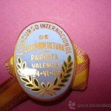 Colecionismo desportivo: ANTIGUA MEDALLA INSIGNIA DEL CONCURSO INTERNACIONAL DE COLOMBICULTURA EN PAIPORTA DEL AÑO 1962. Lote 37577170