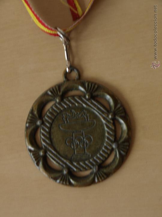 Coleccionismo deportivo: MEDALLA DEPORTIVA. AROS Y ANTORCHA OLIMPICA. 5 CM DIAMETRO. 80 CM CINTA BANDERA ESPAÑA.VER FOTOS. - Foto 5 - 42857431