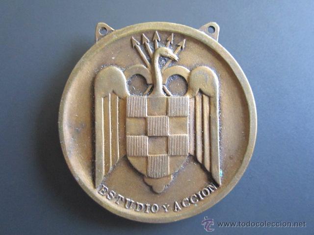 Coleccionismo deportivo: MEDALLA SEU (FALANGE) BALONCESTO (TERCERO) II. JUEGOS UNIVERSITARIOS. 1945. DIÁMETRO 4 CM - Foto 2 - 46424409