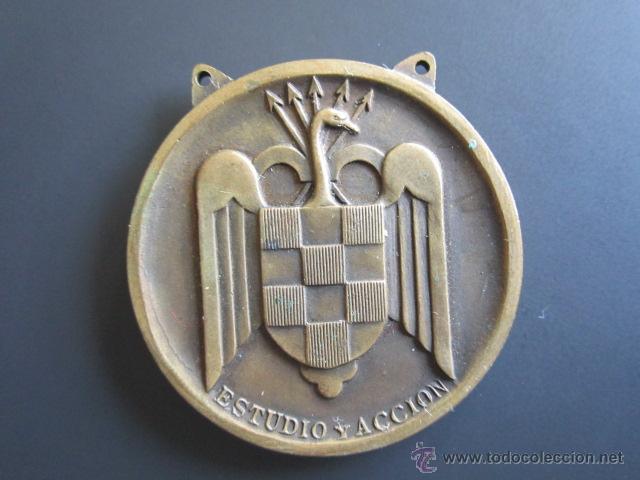 Coleccionismo deportivo: MEDALLA SEU (FALANGE) TENIS (TERCEROS MIXTOS) II. JUEGOS UNIVERSITARIOS. 1945. DIÁMETRO 4 CM - Foto 2 - 46424432