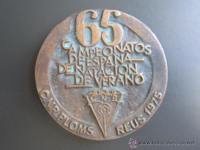 MEDALLA 65 CAMPEONATOS DE ESPAÑA DE NATACIÓN DE VERANO. C.N.R. PLOMS. REUS, 1975. DIÁMETRO 84 MM (Coleccionismo Deportivo - Medallas, Monedas y Trofeos - Otros deportes)