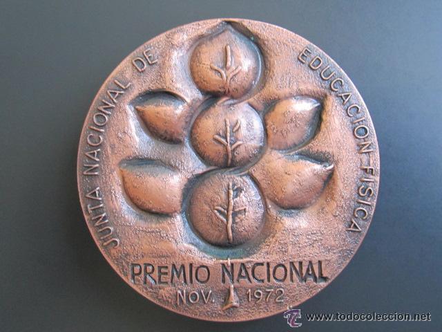 MEDALLA EDUCACIÓN FISICA. PREMIO NACIONAL 1972. 80 MM (Coleccionismo Deportivo - Medallas, Monedas y Trofeos - Otros deportes)