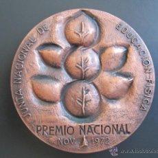 Coleccionismo deportivo: MEDALLA EDUCACIÓN FISICA. PREMIO NACIONAL 1972. 80 MM. Lote 51799298