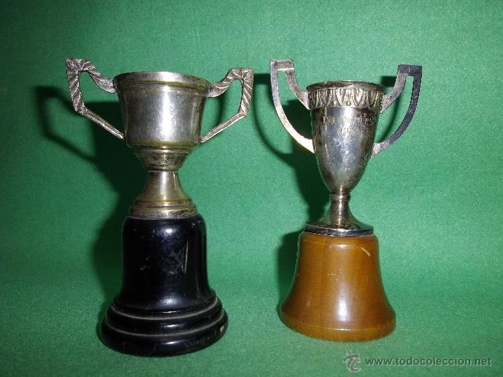 GENIAL LOTE ANTIGUO TROFEO COPA PEQUEÑO TAMAÑO 1965 ALPACA DECORACION (Coleccionismo Deportivo - Medallas, Monedas y Trofeos - Otros deportes)