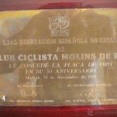 Coleccionismo deportivo: LA REAL FEDERACION ESPAÑOLA DE CICLISMO AL CLUB MOLINS DE REI 28.11.97 ( 50 ANIVERSARIO).. Lote 54588248