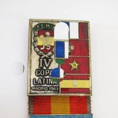 Coleccionismo deportivo: MATERIAL INEDITO! NUNCA VISTO MEDALLA JUGADOR IV COPA LATINA MADRID 1963 FEBM. Lote 56525445
