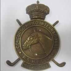 Coleccionismo deportivo: CHAPA DE METAL DEL CONCURSO HIPICO INTERNACIONAL. R. S. H. E. C. C. MADRID, 1949. 16 X 12 CM. Lote 57723727