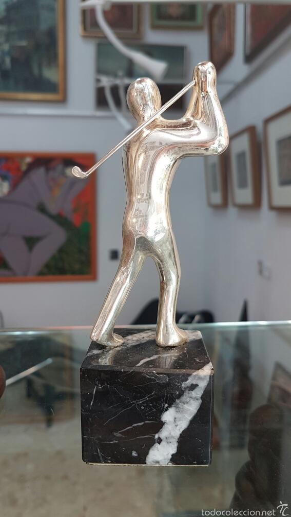 Coleccionismo deportivo: Pequeña escultura-trofeo en plata 925, con contraste. - Foto 3 - 57802285
