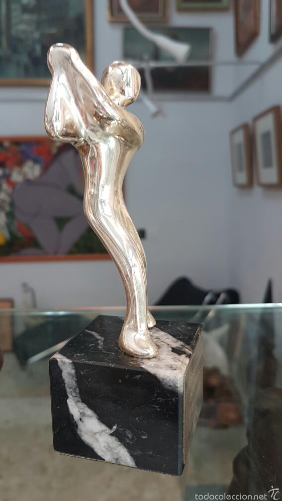 Coleccionismo deportivo: Pequeña escultura-trofeo en plata 925, con contraste. - Foto 4 - 57802285