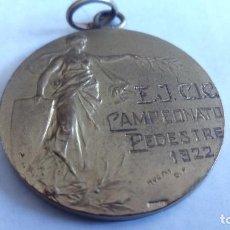 Coleccionismo deportivo: MEDALLA DE BRONCE, E.J.C.I.C. CAMPEONATO PEDESTRE, AÑO 1922, MEDIDAS 30 MM. Lote 98851015